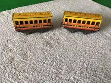 2 x O Gauge Brimtoy Tin Plate Coaches - Both First Class