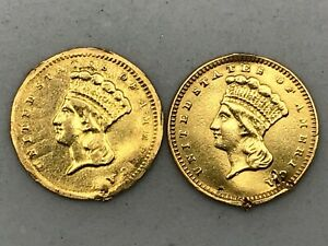 Lot Of 2 1856-1862 $1 Gold Indian Princess Head Coin. Edge Have a Small Damage.
