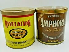 Vintage Revelation and Amphora Tobacco Tin 12 oz cans --- Free shipping