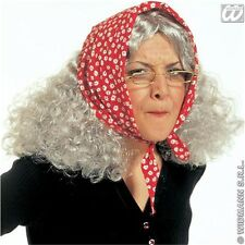 Adult's Granny Wig With Headscarf - Witch Halloween Fancy Dress Accessory