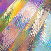 Holographic Iridescent Pebble Grain Faux Leather Sheets Vinyl Fabric Craft Bags