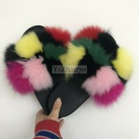 2019 Fashion Women Real Fox Fur Fluffy Slippers Flat Slides Indoor Sandal Shoes