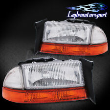 1998-2004 Dodge Dakota/Durango Factory Style Chrome Bumper Signal Headlights Set