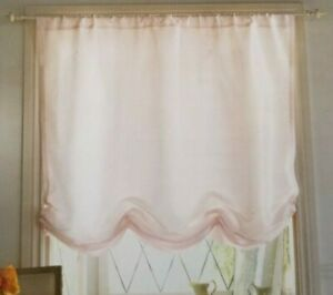 Pink Ice Faux Silk Balloon Curtains with no Ruffle