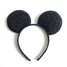 1 PC BLACK GLITTER MICKEY MOUSE EARS HEADBAND FITS MOST CHILDREN AND ADULTS