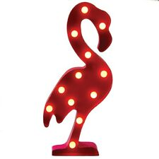 Retro Vintage Chic Pink Flamingo LED Metal Wall Art Hanging Marquee Light Decor