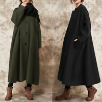 UK Women Winter Oversized Button Long Sleeve Coat Jacket Ladies Parka Outerwear