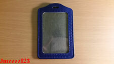 2 PCs Clear Faux Leather Vertical Name Tag ID Card Holder - BLUE *AUSSIE SELLER*