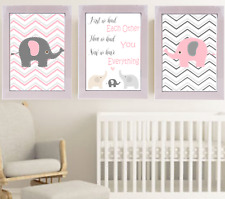 3 prints set, art for baby girl nursery, First we had each other quote, owls
