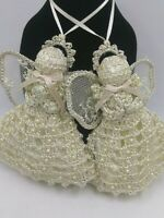 Vintage Crotched Ivory Pearl Beads Angel Ornaments Lot of 2