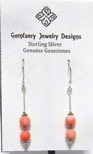 Sterling Silver Natural Pink CORAL Gemstone Drop Dangle Earrings...Handmade USA