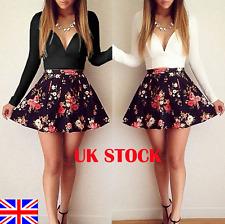 UK Womens Sexy V Neck Long Sleeve Dress Floral Mini Short Section Skater Dresses