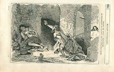 Le prisonnier de Chillon par Eugène Delacroix Peintre GRAVURE ANTIQUE PRINT 1835