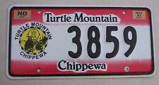 "NO DAKOTA  1992  TURTLE MOUNTAIN CHIPPEWA  INDIAN TRIBAL LICENSE PLATE "" 3859 """