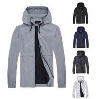 Men's Waterproof Windbreaker ZIPPER Jacket hoodie Light Sports Outwear Coat US