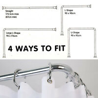 90cm Croydex Chrome 4 Way Modular Shower Curtain Bar Rod Hanging Rail Bath Pole