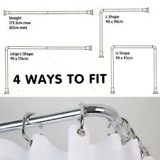 90cm Croydex Chrome 4 Way Modular Shower Curtain Bar Rod Hanging Rail Bath Pole