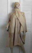 New Womens SZ M Beige Alpaca Wool Cloak Cape Ethnic Poncho Scarf Hat Beret PERU
