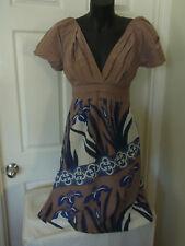 Ladies KOOKAI Silk Cotton Summer Wedding Tea Dress Size 1 Blue Brown