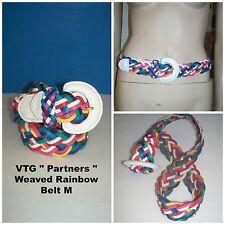 "VTG "" Partners "" 80's Rainbow Leather Basket Weave Braided Retro Women's Belt M"