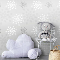 Grey Seamless geometric flowers Removable Wallpaper mural Peel and stick