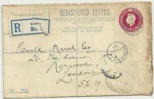 1922 KIRKWALL TO STAMP DEALER OSWALD MARSH REGISTERED ENVELOPE POSTAL STATIONERY