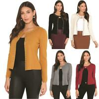 Womens Ladies Cardigan Cashmere Knit Button Up Sweater Crop Top Soft Office Work