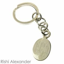 925 Sterling Silver Oval Keychain with Key Ring Monogrammed Engraving
