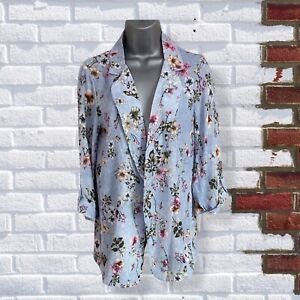 Womens Size Small Blue Floral 3/4 Sleeve Light Weight Collared Open Jacket