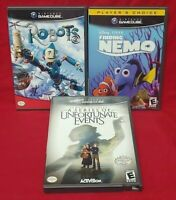 Nintendo GameCube 3 Game Disney Lot Robots, Finding Nemo, Lemony Snickets Events