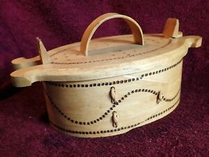 dated 1976 WELL MADE VINTAGE HANDMADE BENDED WOOD BOX with LID SWEDEN SWEDISH