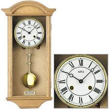 AMS  Regulator Pendeluhr Holz Eiche hellbraun Wanduhr klassisch Glocke Gong