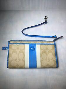 "Blue Coach Wallet Wristlet with White Stripe 7.5"" X 4.5"" X 1"""