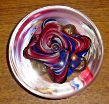 "Rollin Karg Art Glass Paperweight - 3 1/2"" Diameter"