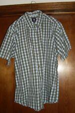 Worn once-Ivy Crew-Men's ss shirt sz L,button-down collar, lt blue/brown plaid