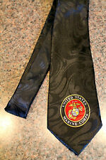 The United States Marine Corps On A Brand New Black 100% Polyester Neck Tie! #2