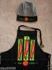 TEXTILE COMBO PACK COTTON APRON & POLY/COTTON CHEF HAT RED HOT CHILLIES CHS