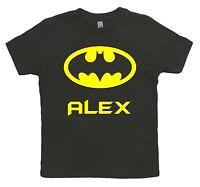 Funky Personalised Batman Superhero Kids Toddlers T-Shirt Ages 1 - 12