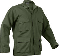 Mens Olive Drab Long Sleeve Military BDU Shirt Coat Uniform Army Fatigues