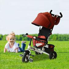 Baby Toddler Tricycle Stroller Trike Bike 2-in-1 Ride On Steel Frame Play Red