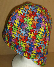 Autism Puzzle Handmade 100% cotton, Welder, Biker, pipefitter,4 panel hat