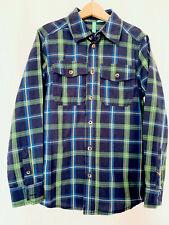 united colors of benetton Boy's Shirt Plaid Long Sleeves Green Navy Sz M 7-8