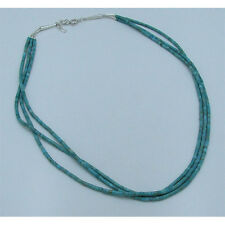 3 Strand 925 Sterling Silver Natural Green Blue King Turquoise Heshei Necklace