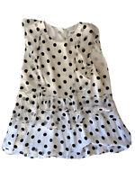 Seed Heritage Size 14 Top Black White Polka Dots Ruffles Women's Blouse T-Shirt