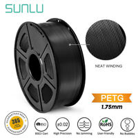 SUNLU 3D PETG Printer Filament 1.75mm 1KG/2.2LB Spool Black Good toughness