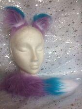 Mini Fox Ears And Tail Lilac & Turquoise Luxury Fake Fur Fox Fancy Dress Set