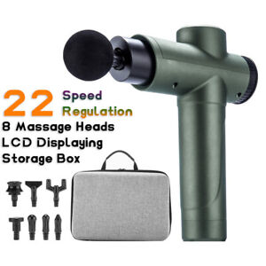 22 Speed Green Massage Fascia Gun Vibrating Relax Therapy Muscle Massager 8 Head
