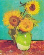 'Vaso con tre girasoli quadro - Stampa d''arte su tela telaio in legno'