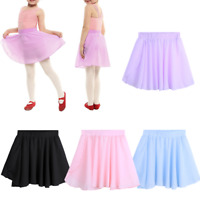 Kid Girl Ballet Pull-On Wrap Tutu Skirt Chiffon Leotard Pleated Dress Dance Wear