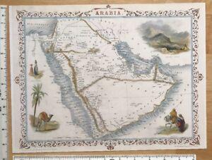 """Old Antique vintage colour map 1800s: Arabia: Tallis 12 X 9.5"""" Reprint 1851"""